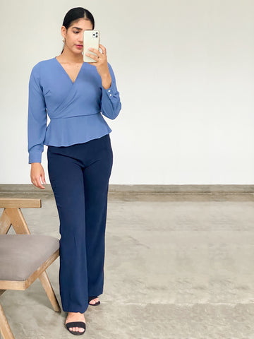 Long sleeve wrap-around top