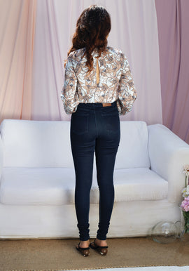 Front pleat floral bodysuit