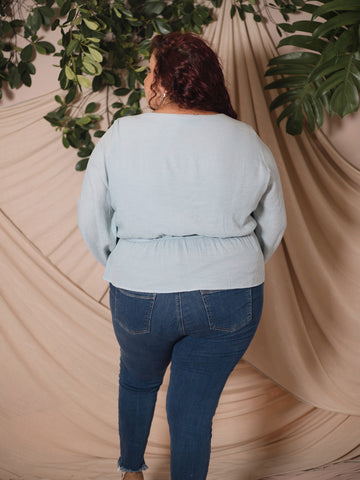 Waist Gathered Blouse (Plus Size)