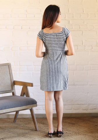 Square neck flared mini dress