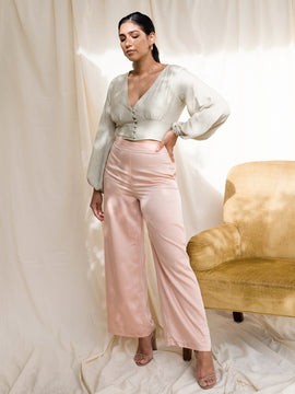 High Waist Satin Trouser