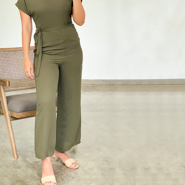 Tie up detail flared leg jumpsuit