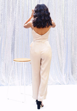 Cowl Neck Straight Leg Jumpsuit