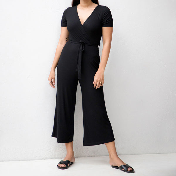 Mock Wrap Rib Jumpsuit