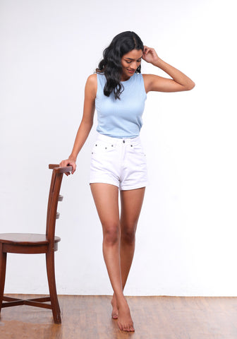 High waist regular fit shorts