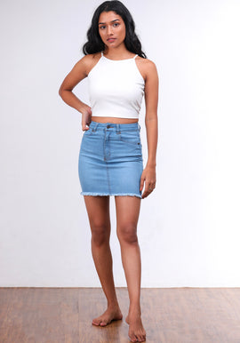 Blue frayed hem mini skirt