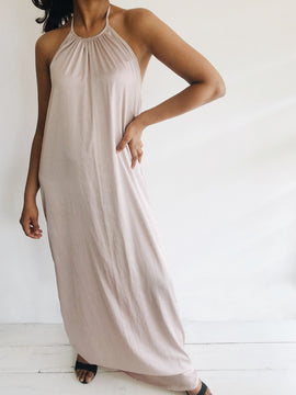Halter Neck Satin Maxi Dress