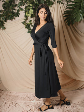 Mid Sleeve Wrap Dress