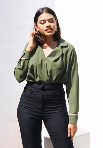 Mock wrap lapel collar top