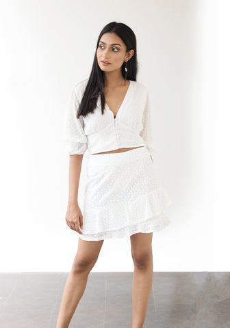 Ruffle Hem Embroidery Skirt