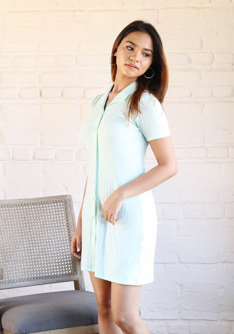 Ribbed mini shirt dress