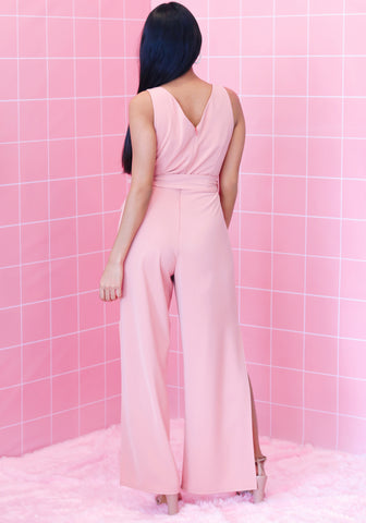 V Neck Side Slit Jumpsuit