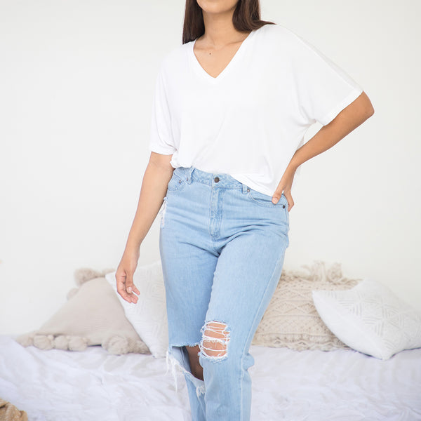 V Neck Oversized T- Shirt