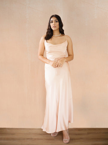 Cowl Neck Flared Maxi Dress