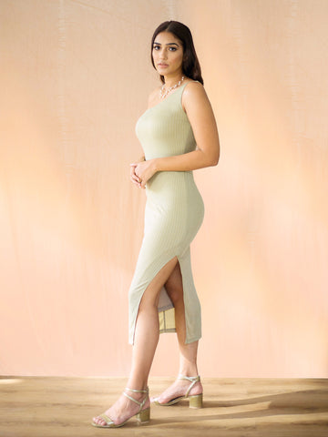 One Shoulder Lurex Midi Dress