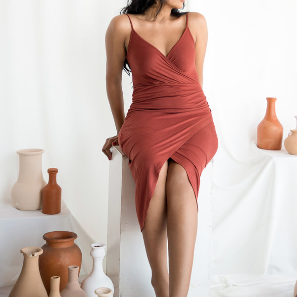 Mock Wrap Jersey Dress
