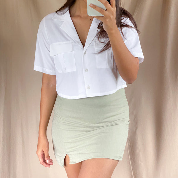 Button Down Short Sleeve Crop Shirt