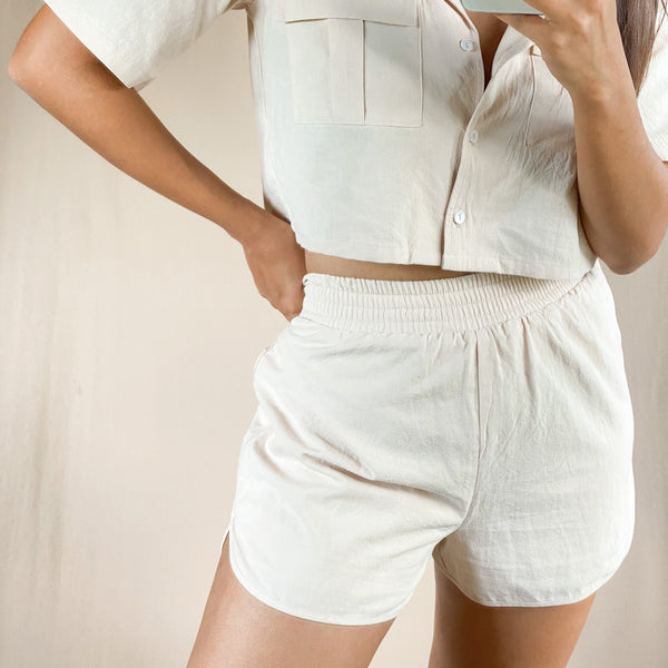 High Waist  Gathered Mini Shorts