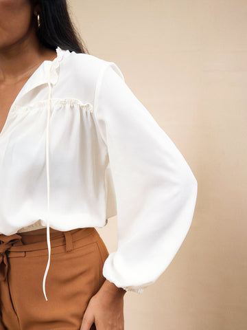 Balloon Sleeve Ruffle Neck Top