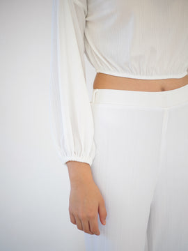 Wide Leg Ribbed Trouser