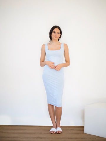 Square Neck Bodycon Ribbed Dress