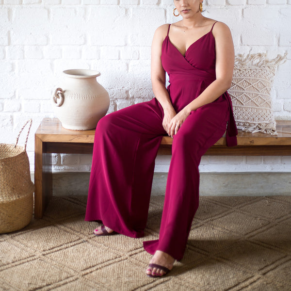 Sleeveless Mock Wrap Jumpsuit