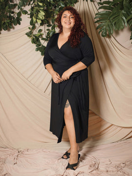 Mid Sleeve Wrap Dress (Plus Size)