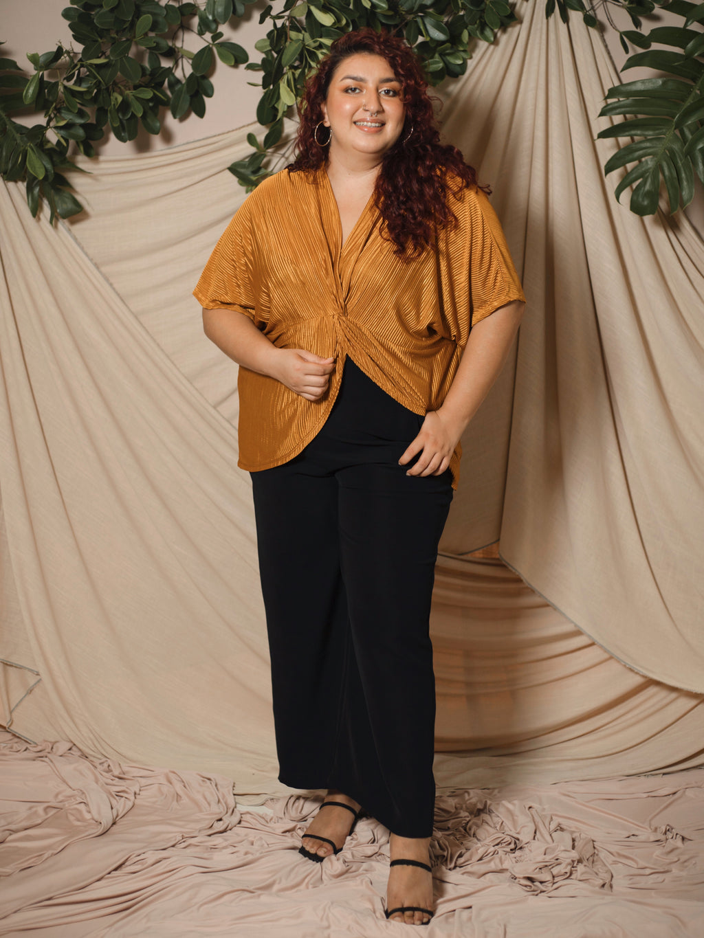Twisted Pleated Top (Plus Size)