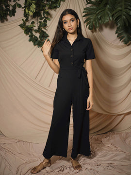 Button Down Ribbed Jumpsuit (Petite Size)