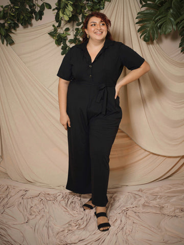 Button Down Ribbed Jumpsuit (Plus Size)