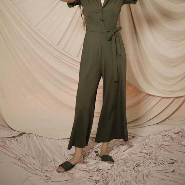 Button Down Ribbed Jumpsuit (Petite Size))