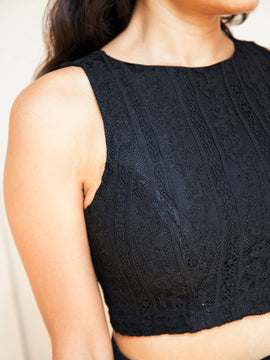 Back Detailed Lace Crop Top