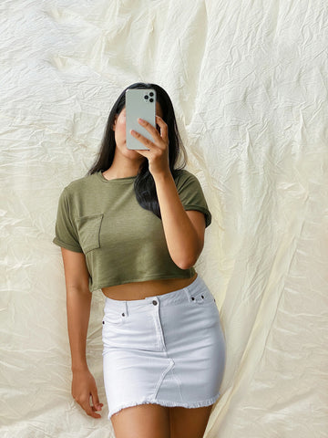 Round Neck Turn Up Sleeve Crop Top