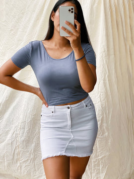 DEEP NECK JERSEY CROP TOP