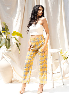 High waist plaid pants