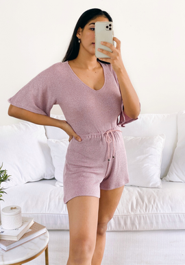 Midi sleeve draw string romper