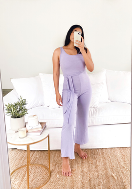 round neck ribbed jumpsuit