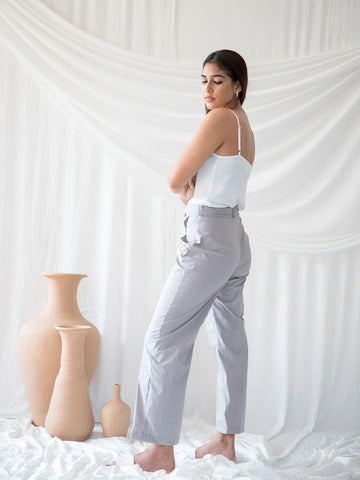 Waist Tieup Straight Leg Trousers