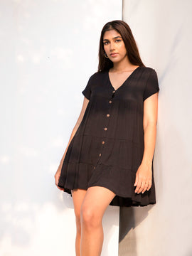 Tiered Button Down Mini Dress