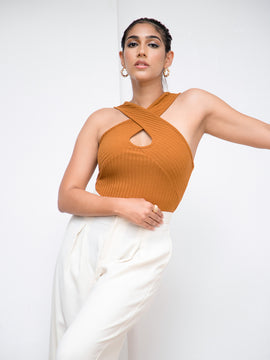 Cross Front Detail Ribbed Top