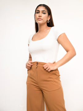 Round Neck Short Sleeve Ribbed Top