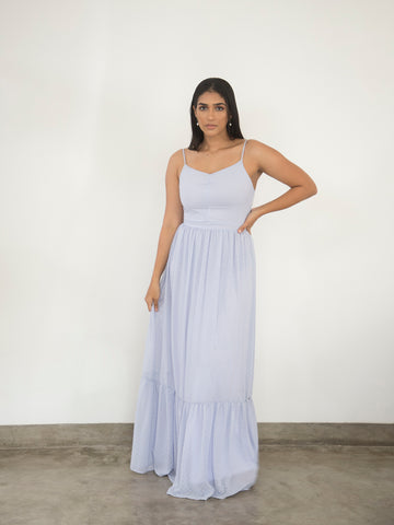 V neck gathered detail maxi dress