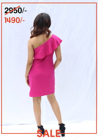 RUFFLE DETAIL ONE SHOULDER DRESS