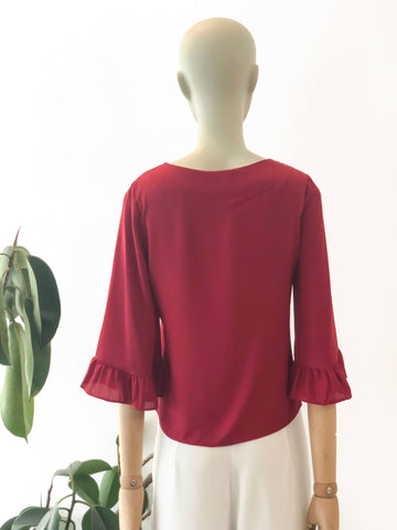 ruffle detail flared sleeve top