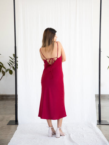 Back Open Cowl Neck Dress
