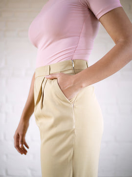 Pleat Detail High Waist Trouser