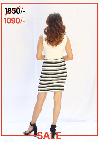 Ribbed stripe skirt
