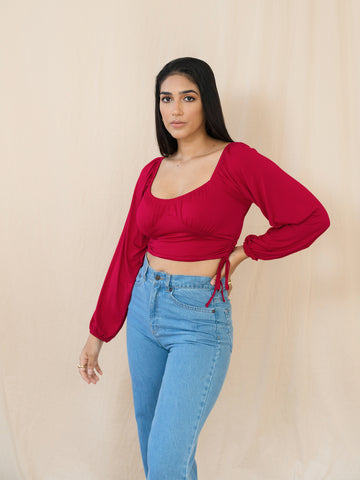 Balloon Sleeved Jersey Crop Top
