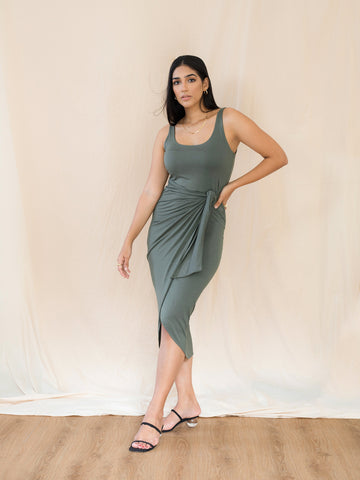 Tie Up Jersey Midi Dress