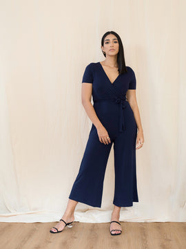 Mock Wrap Jersey Jumpsuit